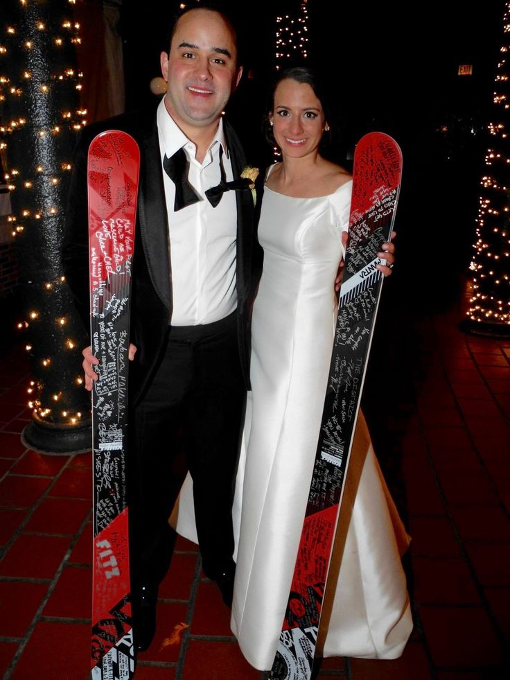 For the wedding our 11-Piece Band played on Saturday before I left, the bride and groom, Chris and Angelica both LOVE skiing. They met in college at ISU. Their mascot is the Cardinals whose colors are red and white. So for their special gift I went to the Viking Ski Store and bought them red and white professional skies which all their guests signed! #ChicagoWeddingBand #ChicagoWeddingBands #DavidRothsteinMusic
