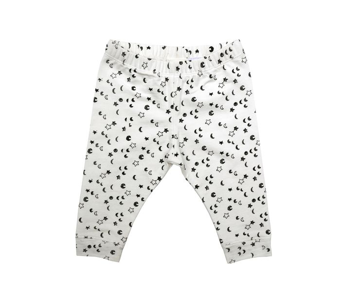 SPROET & SPROUT | LEGGING STARS | €29.95 |  Dit sweat broekje met kleine sterretjes en maantjes is zo lekker zacht voor jouw kleintje!  De stof heeft een speciale wassing gehad voor een extra zacht gevoel. Gemaakt van 95% katoen / 5% elastaan. #legging #jongenslegging #babylegging #jongensbroek #babybroek #monochroom