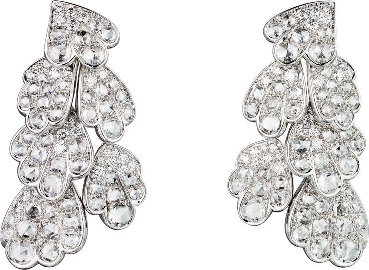 "CARTIER. ""Adiante"" Boucles d'oreilles - platine, un diamant D IF ovale taille brillant de 4.04 carats, un diamant D VVS1 ovale taille brillant de 4.01 carats, diamants taille rose, diamants taille brillant. #Cartier #RésonancesDeCartier #2017 #HighJewellery #HauteJoaillerie #FineJewelry #Diamond"