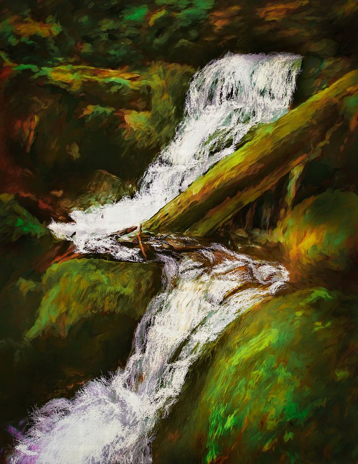 Forest Stream - When on a hike and I hear running water I find I'm drawn to it like a magnet – maybe it's the kid still alive in me! This painting is based on a photo I took a few years back of a little stream running through a conservation area. For me, the sound of burbling  water in a stream is one of nature's most awesome ways of centering the soul.