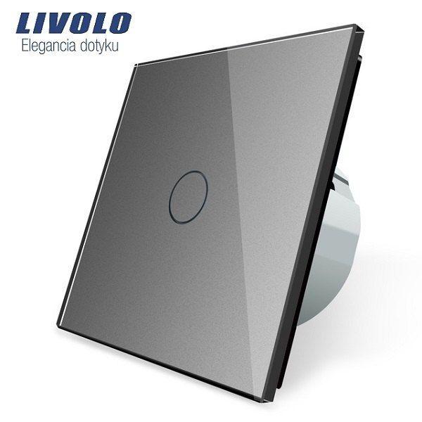 dotykový vypínač ( Radenie 1) s dotykovou sklenenou plochou v striebornej farbe.