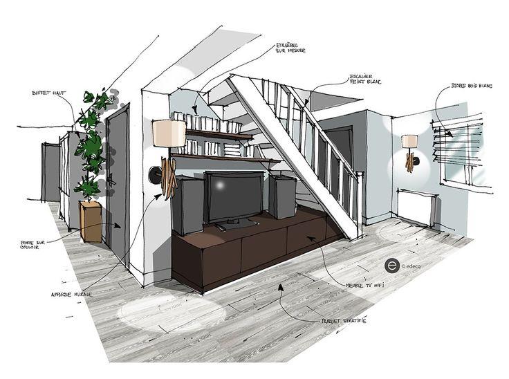 Aménagement sous escalier - croquis architecture Intérieure - Dominique JEAN pour EDECO Rénovation