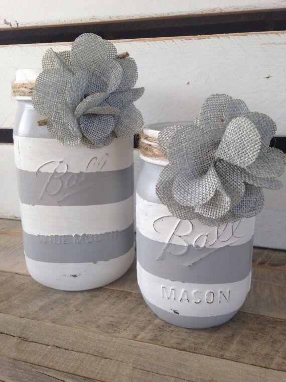 Grey and white striped painted mason jars rustic decor shabby chic decor flower vases on Etsy, $16.00