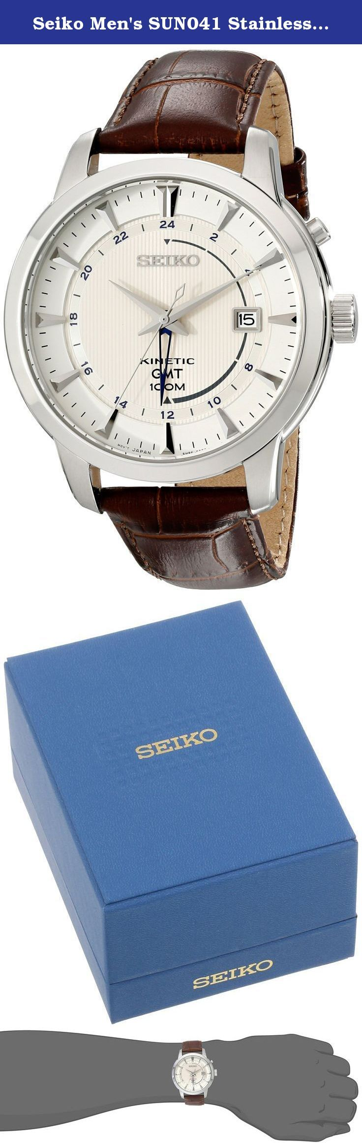 Seiko Men's SUN041 Stainless Steel Watch with Brown Band. Dress watch, Kinetic movement (wearer's movement powers battery), Power reserve indicator, GMT (Greenwich Mean Time) function, Polished silver-tone hands, Polished silver-tone sweep seconds, Additional silver-tone GMT hand, Polished silver-tone markers, Black Arabic numbers form 24-hour track, Black indices form minute track, Analog date, Ivory dial with pinstripe texture and polished silver-tone logo applique, Brown croc-embossed...
