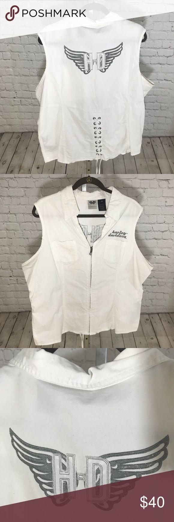Harley Davidson Vest Great white HD Vest! Silver embroidered emblem on back! Size 2W. Harley-Davidson Tops