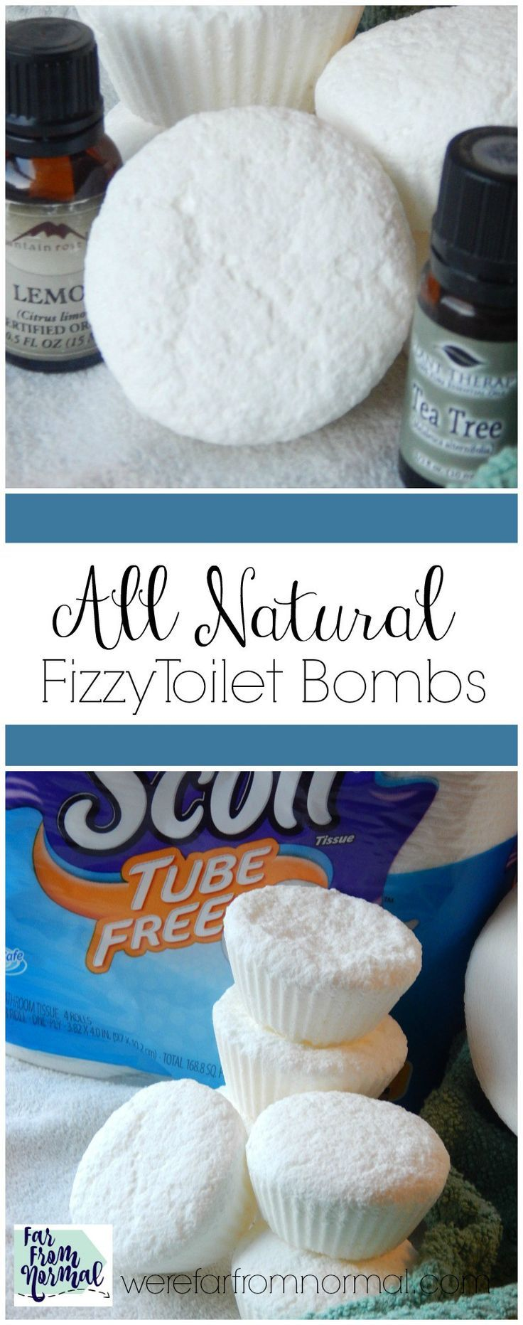Keep your bathroom clean and fresh chemical free! These toilet bombs have essential oils and fizz to clean quickly and easily! #ad #TubeFree