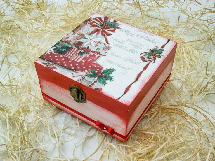 Boldog karácsonyt nagy ékszertartó fa doboz