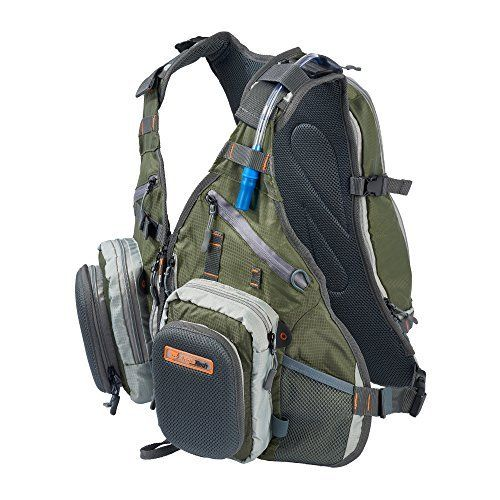 #fishingshopnow Anglatech Fly Fishing Backpack Vest Combo Chest Pack for Tackle Gear and Accessories, Includes Water Bladder, Adjustable…