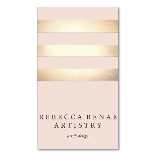 Elegant Gold Striped Modern Light Pink Chic Business Card Templates