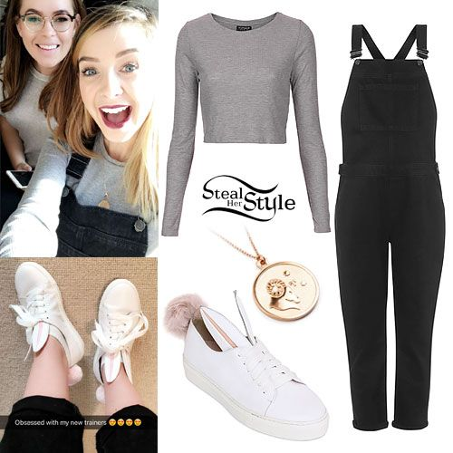 Zoella shared some photos on her snapchat story today wearing the Topshop Moto Black Denim Dungarees (sold out) – similar style ($90.00), Topshop Gray Long Sleeve Ribbed Top (sold out), Minna Parikka White Low-Top Bunny Sneakers (€295.00), and the Anna Saccone Aries Zodiac Sign High Gloss & Sandblasted 925 Silver Rose Gold Plated Necklace (€84.00) from Stillnest.