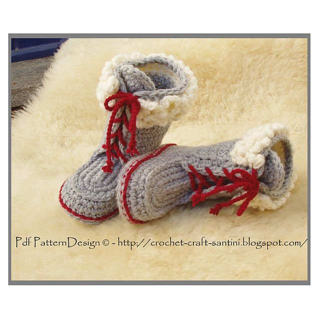 Ravelry: Winter Boots for Kids with Fur and Laces. Crochet pattern by Ingunn Santini
