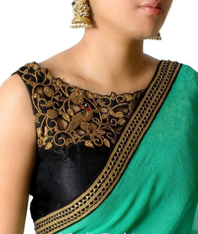 Cut work blouse design - Green saree with black blouse