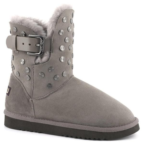 Cowboy studded spiral   New for autumn/ winter 2014, our slim-fitting cowboy style is updated with spiral stud and belt details. Divinely warm with an upper in double-face sheepskin; this chic, comfortable and hard-wearing boot has a durable EVA & rubber sole. www.mou-online.com