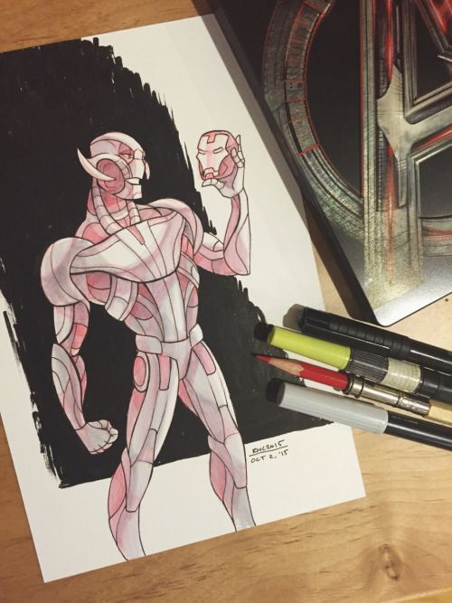 Inktober #2! I got the Age of Ultron steelbook from Best Buy this morning so here's a celebratory Ultron!  This was the first and most likely the last time I will ever draw Ultron. He's so difficult to stylize TT______TT