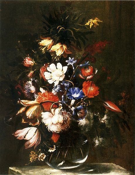 Baroque painting   still life with flowers by Juan de Arellano, second half of 17th c. (oil on canvas)