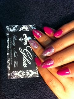 Pink Nails with glitter design!