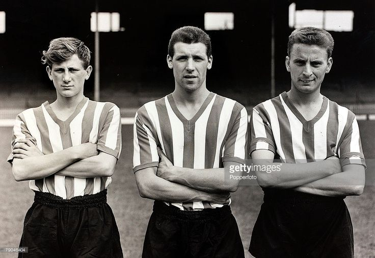 Sport, Football, 27th July 1960, Sheffield United players, l-r, Len Badger, who made 457 appearances for the club, Henry Orr, 10 appearances and Walter Giuld 5 appearances