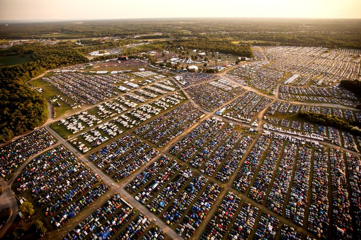 Picture of an aerial view of camping and crowds at Bonnaroo Music Festival, Manchester, Tennessee