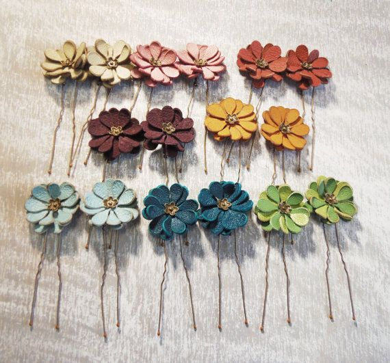 Leather flower bobby pin hair pin set of 2 by agatechristina
