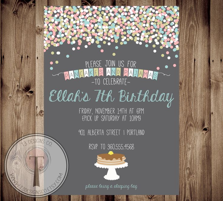 Pancakes and Pajamas Birthday Invitation, Girl Sleepover birthday invite, girl birthday invite, pancake birthday, pajama party, confetti by T3DesignsCo on Etsy https://www.etsy.com/listing/210281909/pancakes-and-pajamas-birthday-invitation