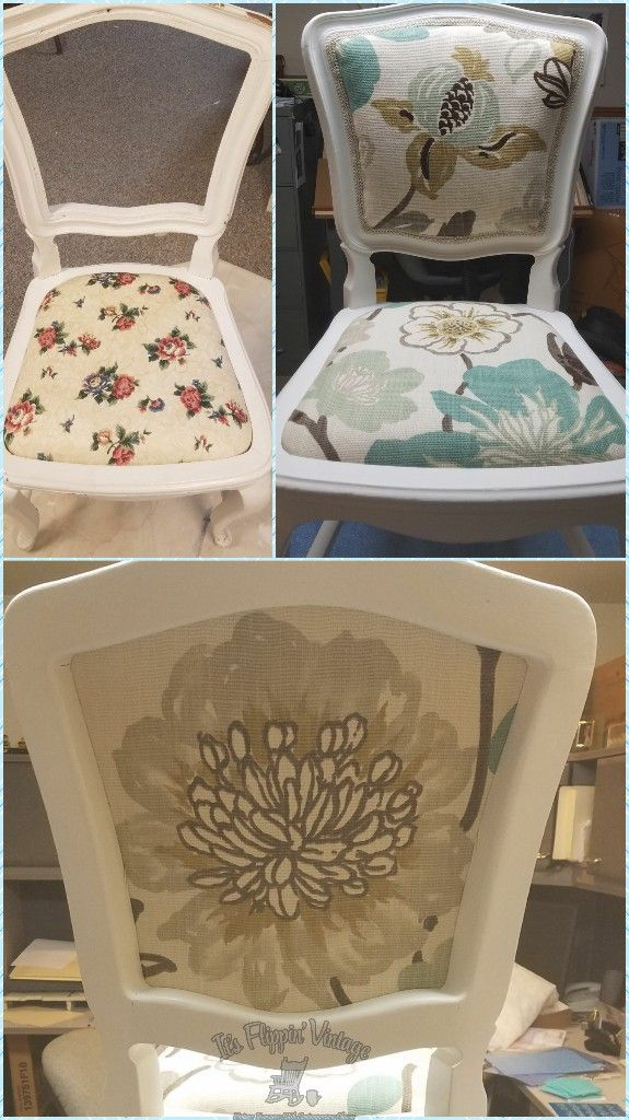 Before And After A Vanity Chair Refinished And Reupholstered
