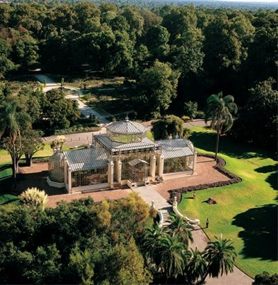 An aerial view of the Old Palm House in the Botanic Gardens of Adelaide South Australia.
