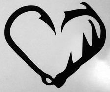 "Antler Fishing Hook Heart Truck Decal 5"" Camo Hunting Browning Outdoor Country"