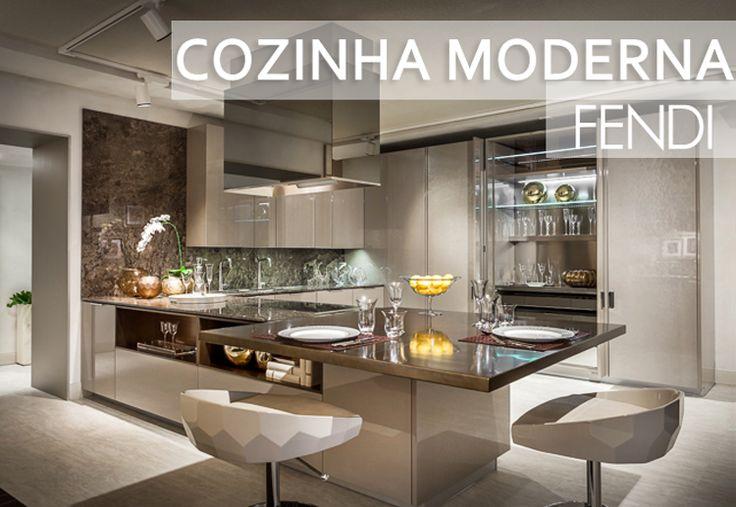 Decor Salteado - Blog de Decoração e Arquitetura : Cozinha moderna decorada na cor fendi da Fendi! Confira todos os detalhes!
