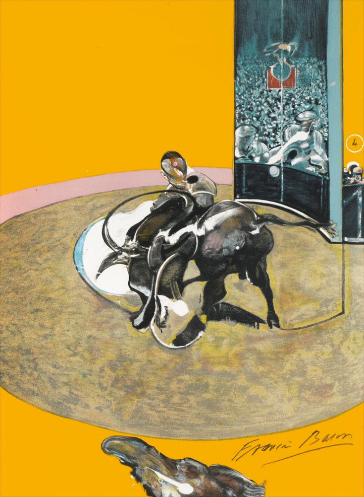 'Mirror of Bullfighting' 1990 Francis Bacon. Lithograph on paper. One of 3 panels. (Compare with Holbein's 'Ambassadors')