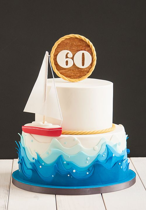 Blue Ocean Waves On A Sailing Boat Cake. Nautical 60 Topper Made Out  Fondant.