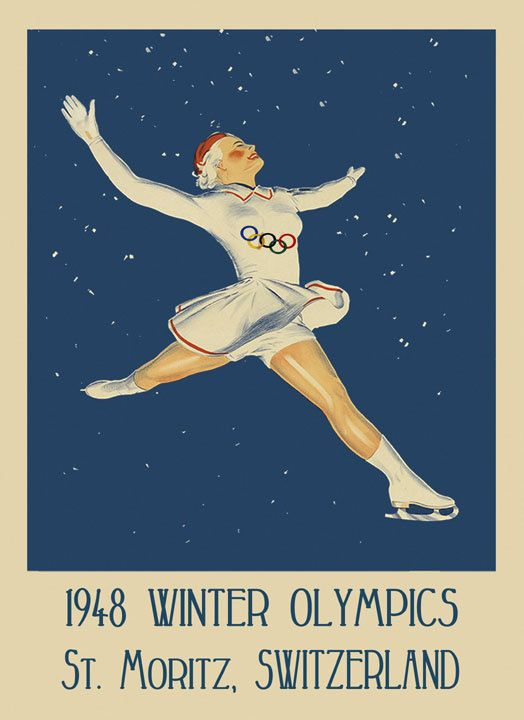 Ice Skating 1948 Winter Olympics St. Moritz Switzerland Sport Vintage Poster Repro FREE SHIPPING in USA