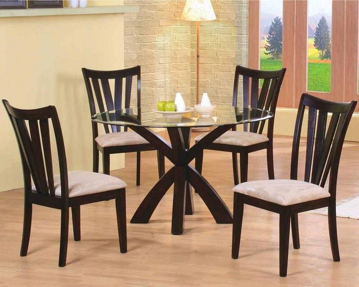 Furniture Outlet Round Tempered Glass Dining Table Setcappuccino Finish Modern Contemporary