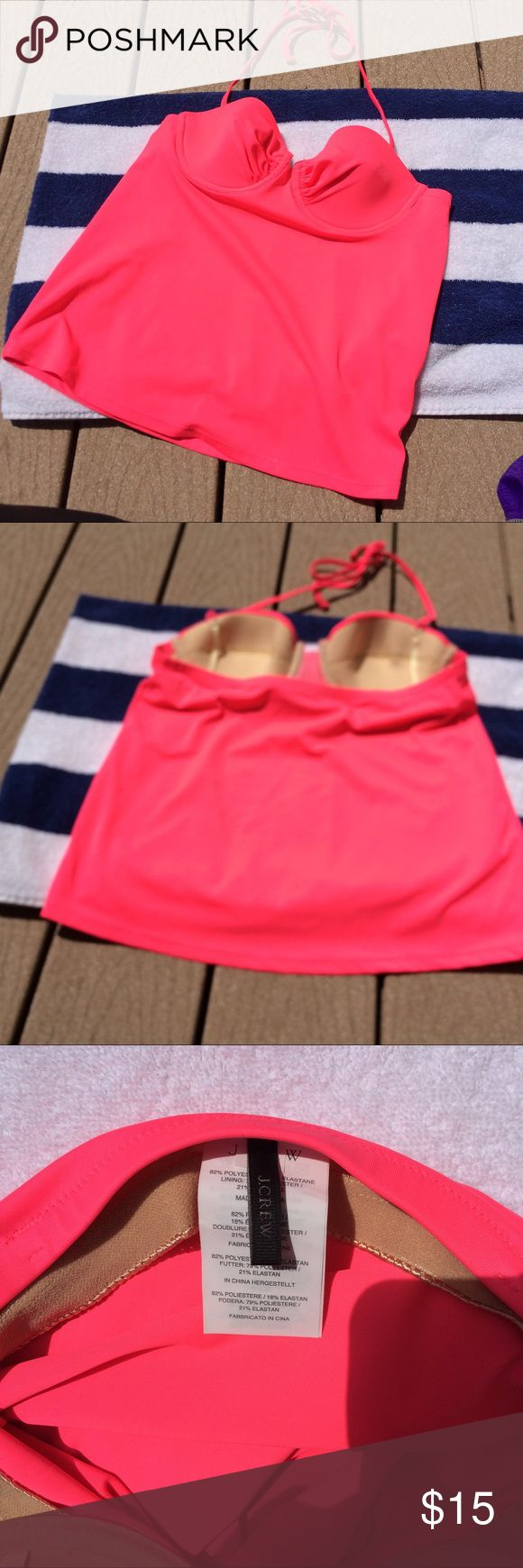 J.Crew Pink Tankini Very cute J.Crew tankini, size 4 in hot pink. Defined cups are not removable not padded. Adjustable halter string top. Very good condition, no noticeable holes, tears, piling or staining. *Please note that this is a gently used item and may have small defects from wear. I've done my best to describe any and all signs of wear. Any questions, please ask before purchasing, thanks!* J. Crew Swim Bikinis