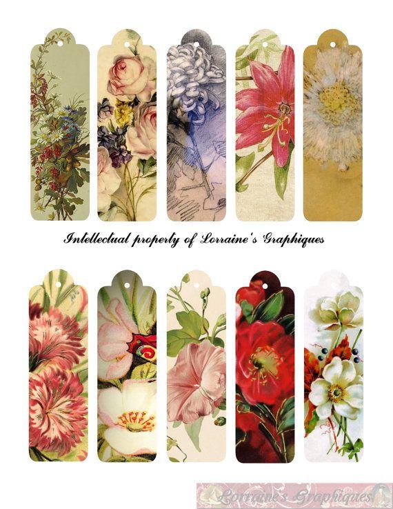 Antique Floral flaco digital Etiquetas Do series of THIN paintings