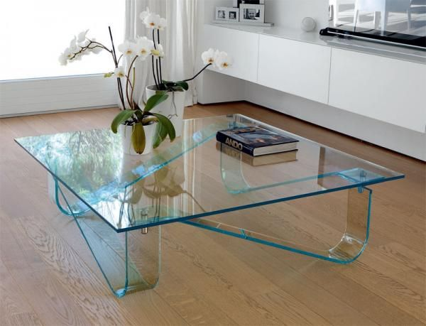 Unico Italia Curved Leg Wind Contemporary Glass Coffee Table See More At Https
