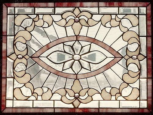 Stained and beveled glass panel