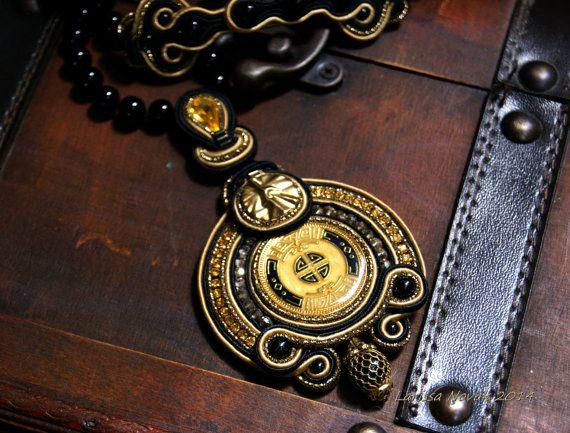 Soutache Pendant / Necklace / black, old gold /