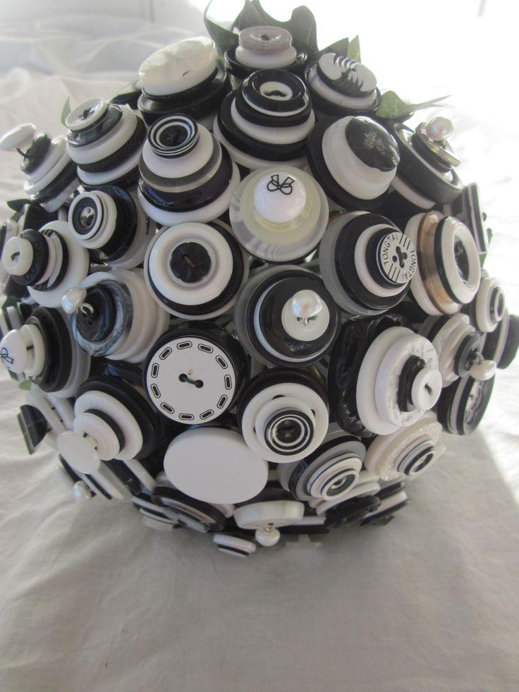 classic black and white Bridesmaid button bouquet