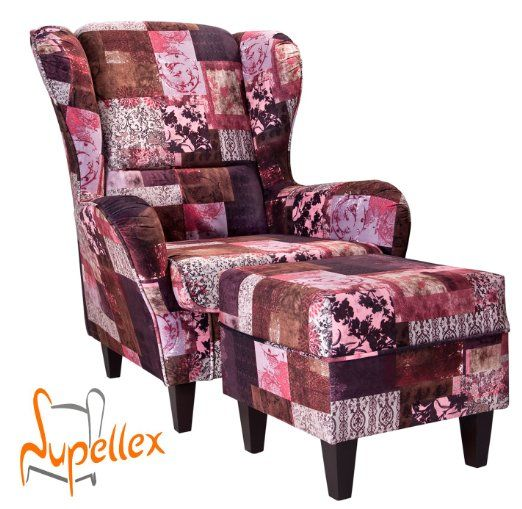21 best armchair images on pinterest armchairs couches for Patchwork ohrensessel mit hocker