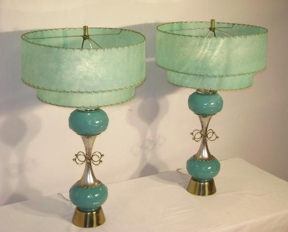 Inspiration for Alanna's lamp?  1950's pair retro lamps w/fiberglass shades in Lamps and other stuff by Rudy Purdy