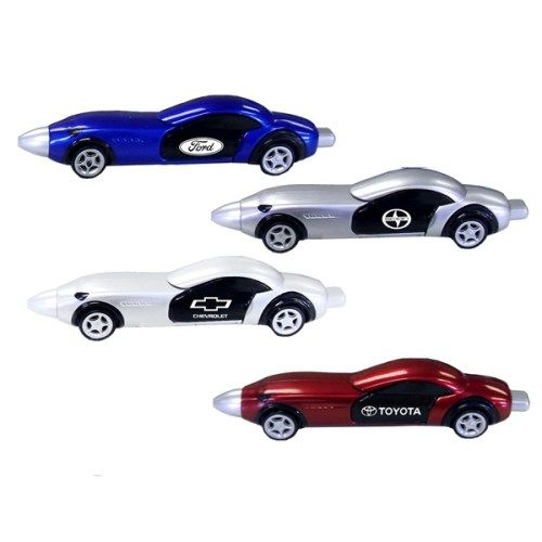 Race car shaped ballpoint pen. Elegant and sleek, it's available in 4 popular colors: red, blue, white & silver. Made from 100% recyclable materials, the doors open on both sides and the wheels roll! Also, it features a pullback mechanism which enables the car to shoot forward. Perfect for promotions and events related to auto parts & services, car dealers and race tracks. Will delight any recipient!