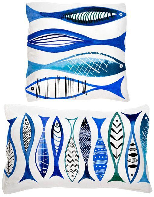 Margaret Berg Art: Simple Fishies (Blue) Pillow
