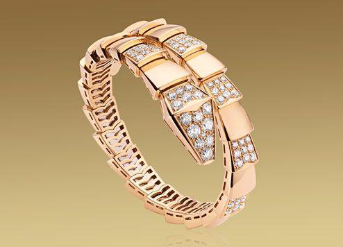 serpenti bracelet in 18kt pink gold with pav diamonds bvlgari bulgari official