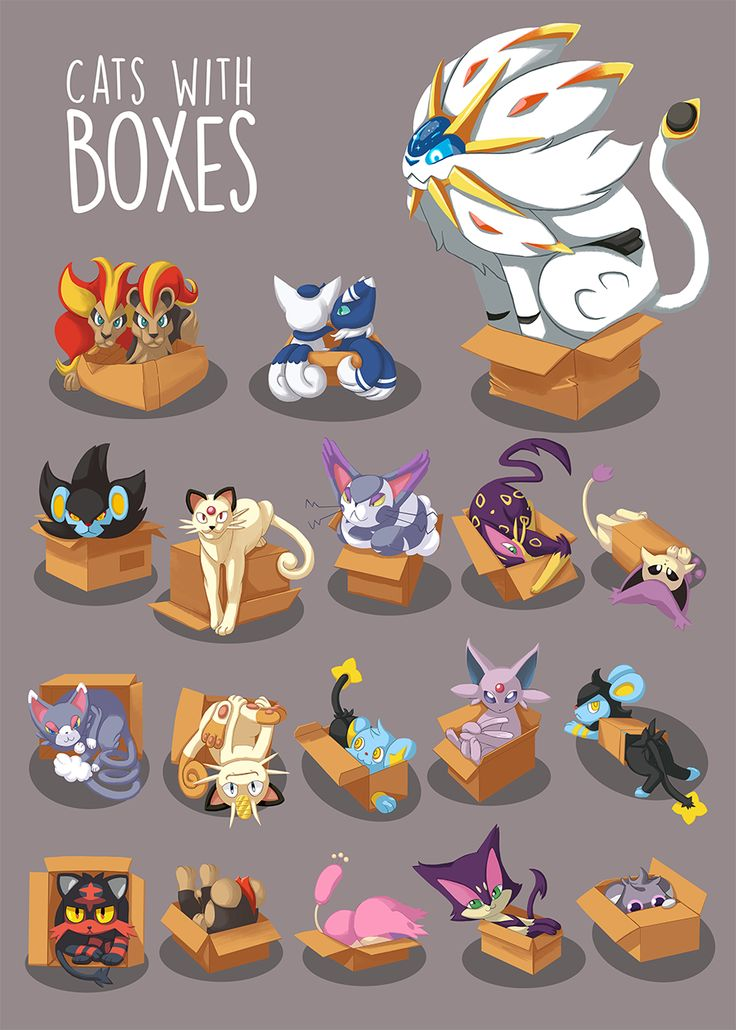 """zoe-sphere: """" A cat is a cat no mater the size or personality, and when cat meets boxes! hilarity follows! was super fun to draw these Pokemon cats in boxes! available as a print at this years SMASH! : ) """""""