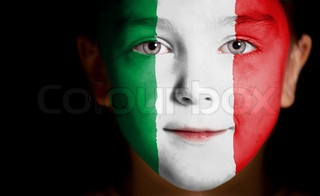 Image of 'Child face painted with the flag of Italy'