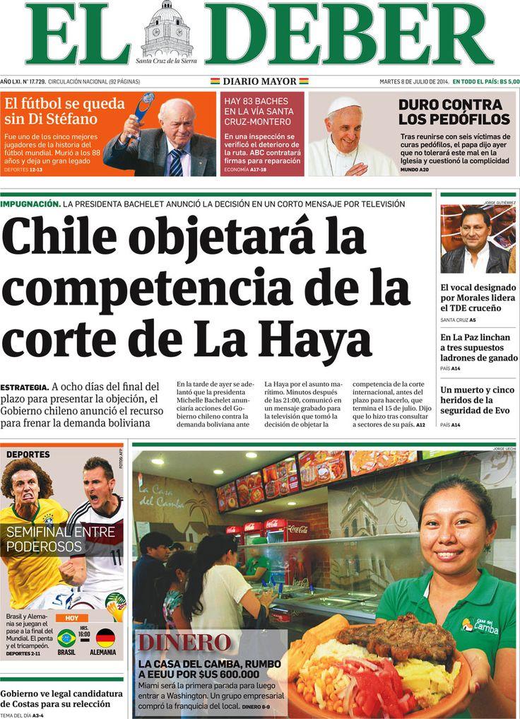 08.07.14: Prensa boliviana reaccionó con tranquilidad al anuncio de la Presidenta Bachelet | Política | LA TERCERA