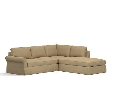 PB Comfort Roll Arm Left 3 Piece Bumper Sectional Slipcover, Box Edge,  Performance