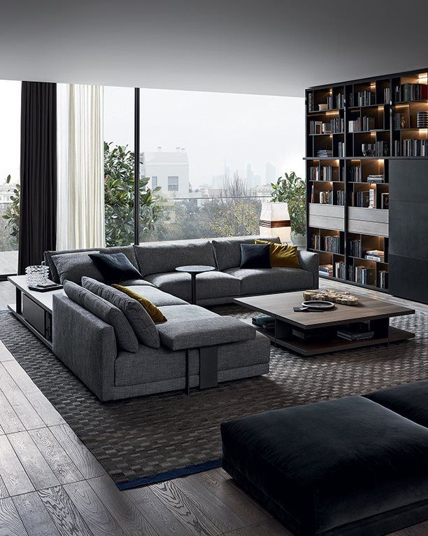 Living Room Sofa Bookshelf Poliform Wall System Day System And Bristol Sectional
