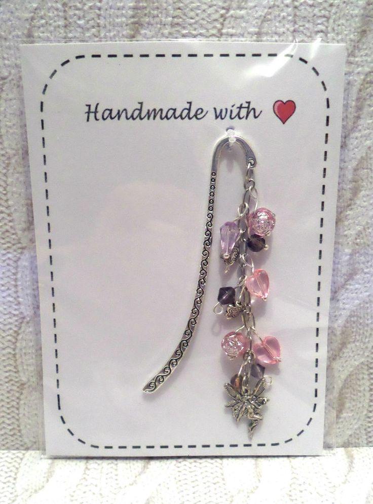 x1 handmade Tibetan silver FAIRY Bookmark pink beads * Bday Thank you Gift