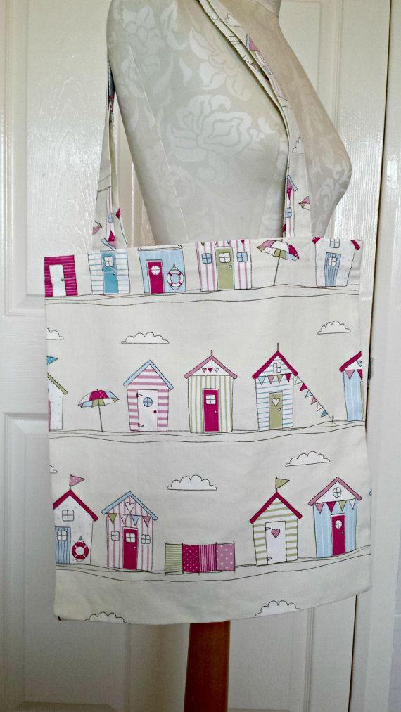 £6.99 Handmade Shopping Bag beach hut Tote Bag by KelwayCraftsYorkshir